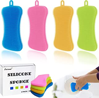 Silicone Sponges Washing Up Sponges 4 Pack Large Size Hygienic Cleaning Sponges for Fruits, Vegetables and Kitchenware Cleaning