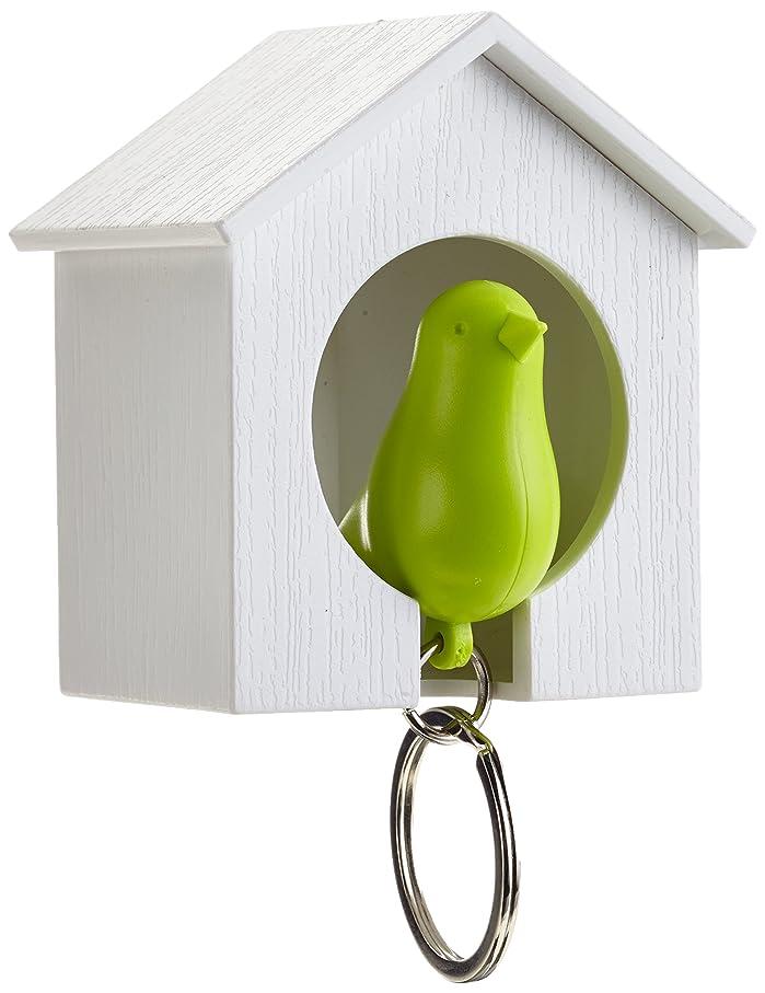 事故ガス通知QUALY 鍵収納 キーリング Sparrow Keyring グリーン/ホワイトハウス 090004GR