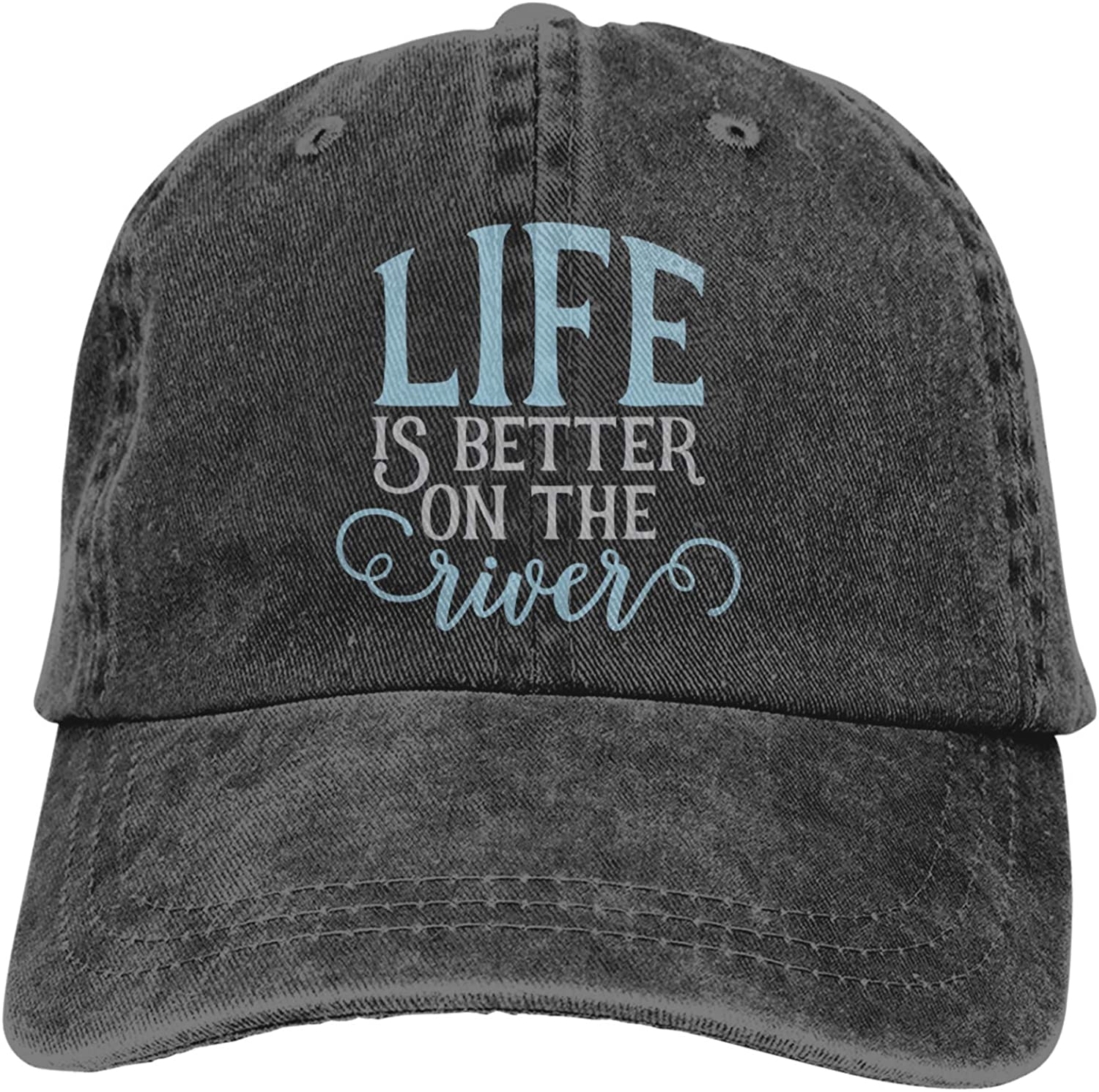 Life is Better On The River Outdoor Men's Baseball Cap Sports and Leisure Adjustable Cowboy Hat Performance Cap Black