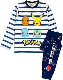 Pokemon Pajamas Pikachu Personnages Enfants Rayés T-Shirts et Pantalons Pajamas