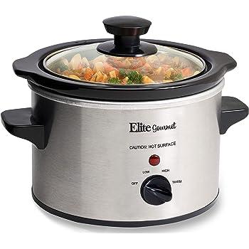 Elite Gourmet Lid &Ceramic Pot Slow Cooker with Adjustable Temp, Entrees, Sauces, Stews & Dips, Dishwasher Safe Glass Lid & Crock, 1.5 Quart, Stainless Steel