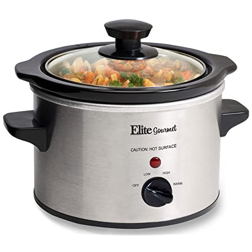 Elite Gourmet MST-250XS Electric Slow Cooker Ceramic Pot, with Adjustable Temp, Entrees, Sauces, Soups, Roasts, Stews & Dips, Dishwasher Safe (1.5 Quart, Stainless Steel)