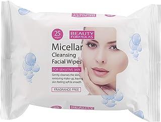 مناديل مبللة بماء الميسيلار لتنظيف الوجه من بيوتي فورميولاز، 25 منديل، 60 غرام
