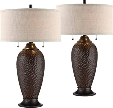 Cody Modern Industrial Rustic Table Lamps Set of 2 Hammered Oiled Bronze Brown Oatmeal Linen Drum Shade for Living Room Bedro