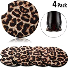 4 Packs 2.56 Inch Leopard Car Coasters for Drinks Neoprene Cup Coaster Rubber Car Cup Pad Mat Car Accessories for Car Living Room Kitchen Office to Protect Car and Furniture