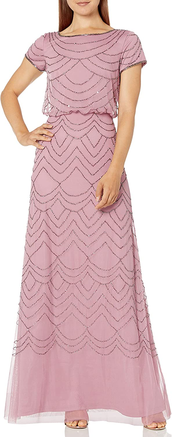 Adrianna Papell Don't miss the campaign Women's Short Sleeve Gown trust Beaded Blouson