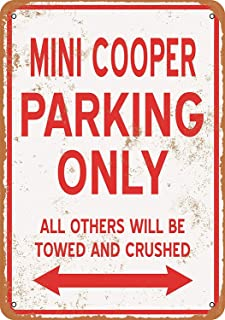Colorful scenes Retro Creative tin Sign 12x16inches,Mini Cooper Parking Pre-drilled Holes Wall Decoration for Energize Your Home,Office,Restaurant,bar or Garden
