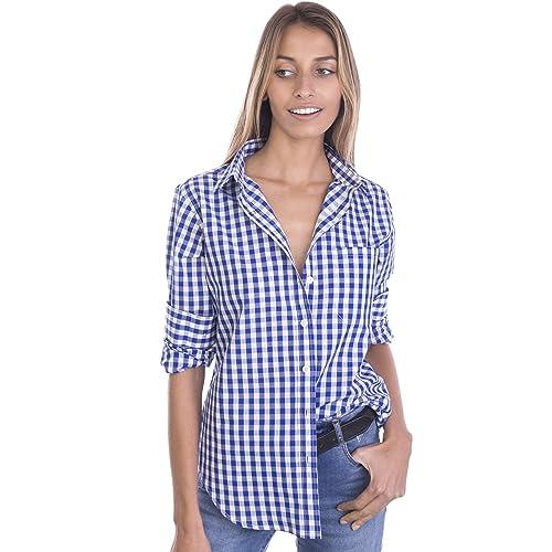 2083d659aaa728 CAMIXA Women's Gingham Shirt Checkered Casual Long Sleeve Button Down Plaid  Top