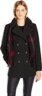 London Fog Women's Double Breasted Peacoat with Scarf