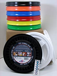 Gamma Seal Lid, Assorted Colors, 9 Pack - New! - Boxed! - 5 Gallon Bucket Lids (Fits 3.5, 5, 6, & 7 Gal.) Storage Container Lid