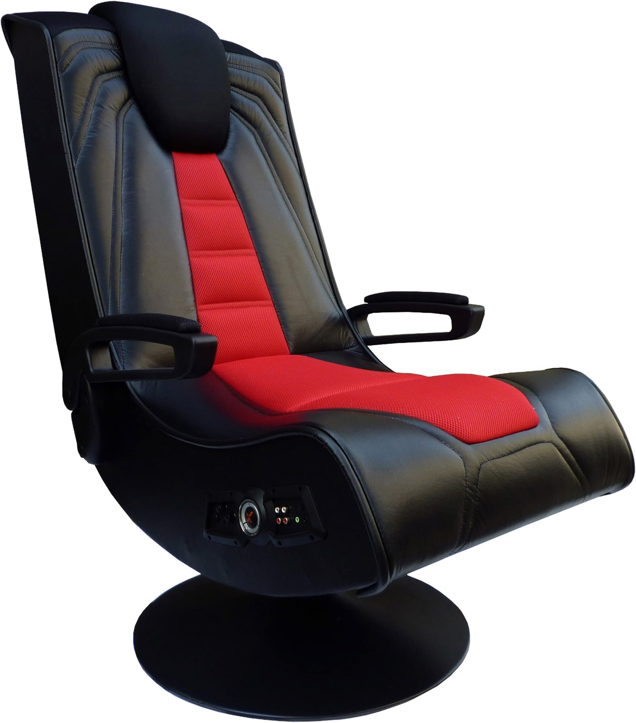 ACEssentials, 5149201, Pedestal Extreme III 2.1 Sound Wireless Video Foldable Gaming Chair w/Pedestal Base and 2 Speaker High Tech Audio System, 29.13 x 16.14 x 30.91, Black/Red