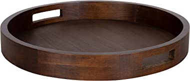 Kate and Laurel Hutton Large Round Wood Tray with Handles, Walnut Brown Finish