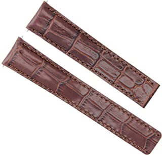 LEATHER WATCH BAND STRAP FIT CARTIER TANK FRANCAISE 18/16MM DEPLOY CLASP BROWN