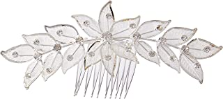 Unik Occasions 优雅叶子花发梳,带微缩水钻,银色