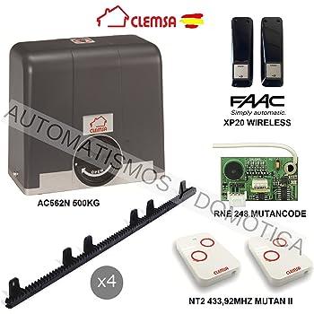 KIT Motor puerta cancela corredera CLEMSA AC562N 500KG, para automatizar puertas y cancelas correderas de uso residencial, parking, garaje, cochera, alta calidad con mandos MUTANCODE: Amazon.es: Bricolaje y herramientas