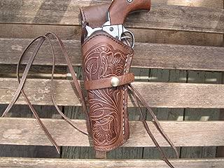 "Western Express – Left Handed – 6"" Brown Tooled Leather Gun Holster (.22 .38 .45 Caliber)"