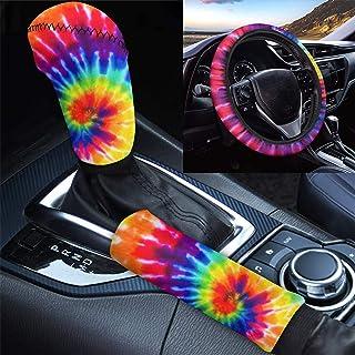 HUGS IDEA Capa protetora de freio de mão com estampa Rainbow Tie Dye para volante de automóvel, capa protetora de freio de...
