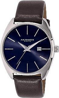 Akribos XXIV Men's Sunray Dial Watch - Tonneau Shaped with Date Window On Genuine Leather Strap - AK945
