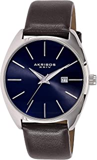 Akribos XXIV Tonneau Sunray Dial Date Strap Men's Leather Band Watch - AK945SSBR