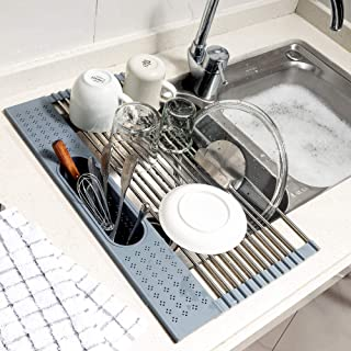 """Koroda Over The Sink Multipurpose Roll-Up Dish Drying Rack with Utensil Holder ( Grey, 17.3"""" x 11.1"""")"""