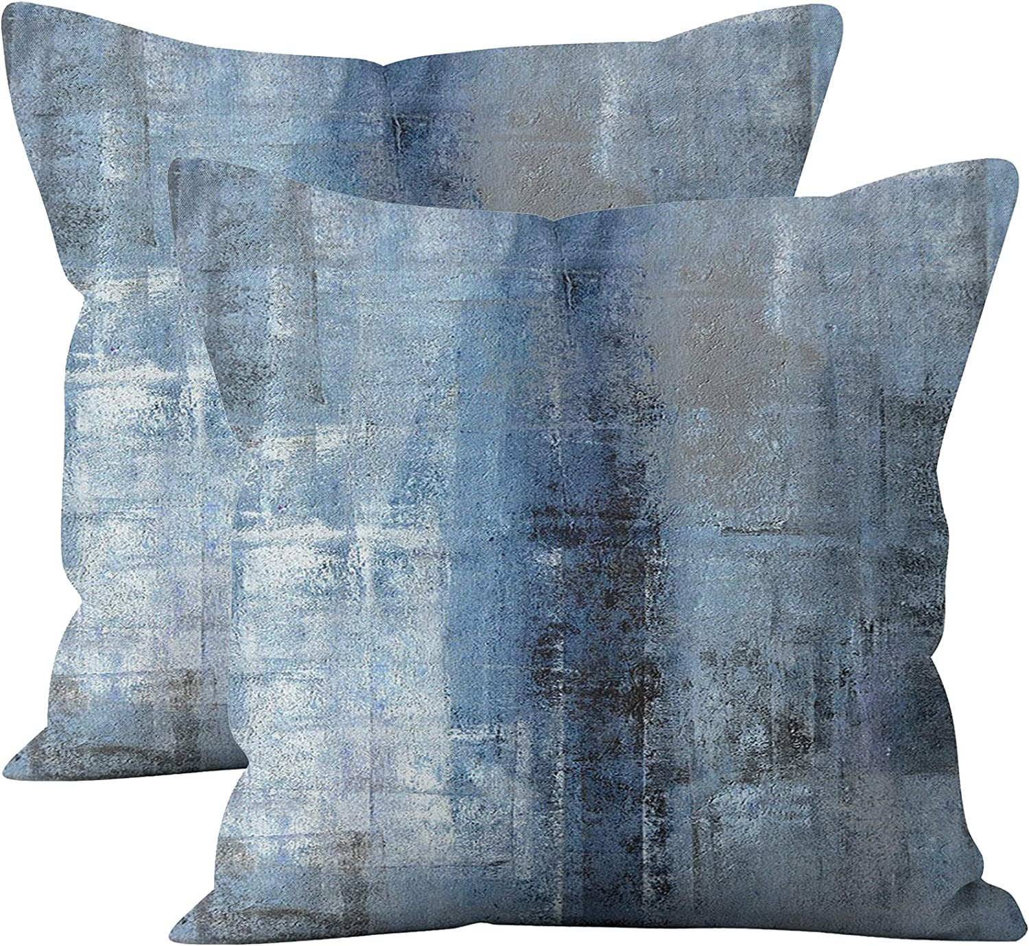 Taeamjone Blue and Grey Throw Pillow Covers, Modern Pillow Cover Home Decor Cushion Cover for Sofa Bed Living Room Bedroom, 18 x 18 inches