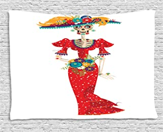 Ambesonne Sugar Skull Tapestry, Hispanic Holiday for Cinco de Mayo Calavera Catrina in Vintage Clothes, Wide Wall Hanging for Bedroom Living Room Dorm, 80