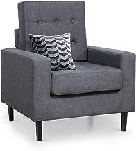 كرسي عصري أنيق من Lovinouse مصنوع من قماش منجد مريح لغرفة المعيشة وغرفة النوم والمكتب (رمادي داكن)