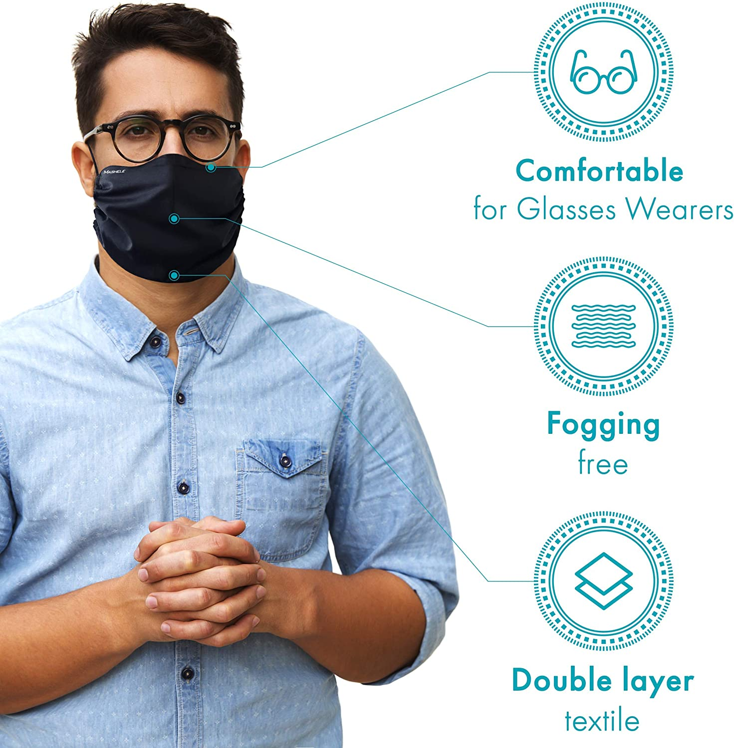 MASHELE Summer Face and Beard Headwear Reversible Reusable Doublesided Cloth Covering for Bearded Men