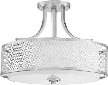 """Kira Home Linx 16"""" 3-Light Semi-Flush Mount Ceiling Light Fixture + Outer Mesh Shade and Inner White Fabric Shade, Brushed Nickel Finish"""
