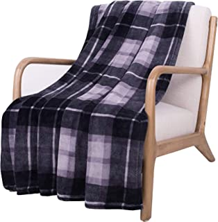 SOCHOW Flannel Fleece Blanket 60 × 80 Inches, All Season Plaid Grey Blanket for Bed, Couch, Car