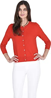 Sponsored Ad - State Fusio Button Front Three Quarter Sleeve Cardigan Cashmere Wool Crew Neck Sweater for Women