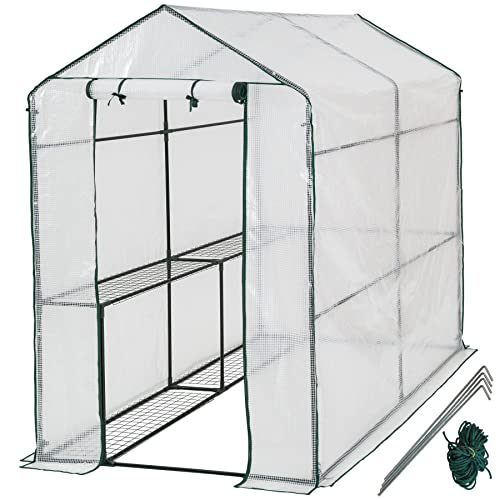 TecTake Invernadero de jardín vivero casero plantas cultivos - varios modelos - (186x120x190cm | No