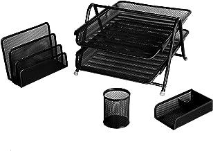 Desktop Office Organiser 4 Pieces Stationery Set - Metal Mesh