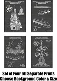 Disney Theme Park Rides Wall Decor Collection: Set of Four Patent Print Art Posters: Choose From Multiple Size and Background Color Options