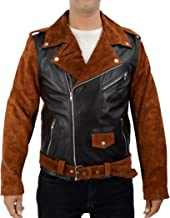 Leather Creative Billy Connolly Route 66 Black and Brown Biker Jacket