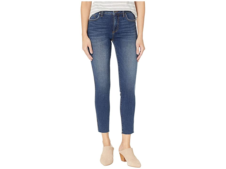KUT from the Kloth Donna High-Rise Fabric AB Ankle Skinny in Remissive/Dark Stone Base Wash (Remissive/Dark Stone Base Wash) Women