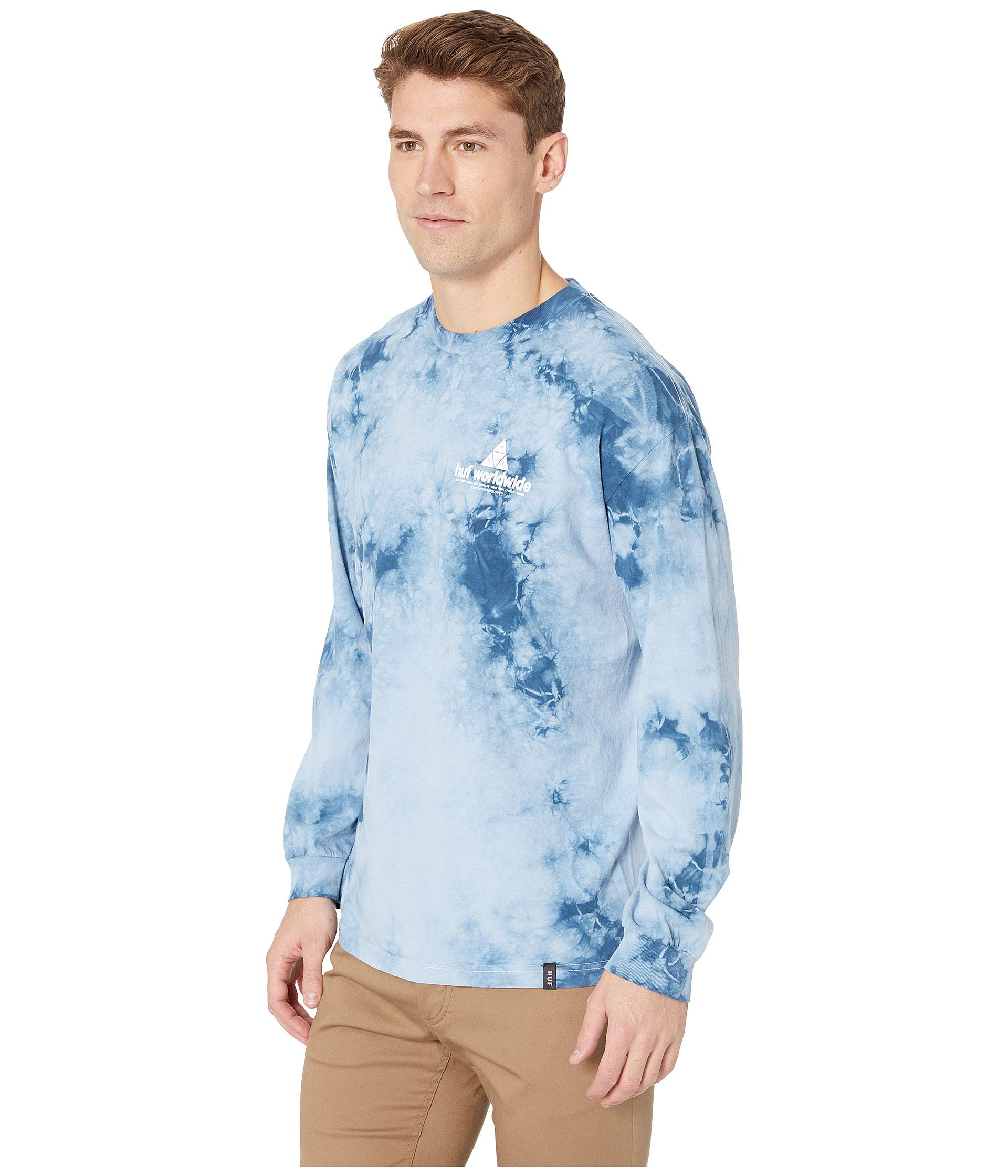 Peak Tee Wash Logo Forever Blue Sleeve Crystal Long Huf fv1dqpxwf
