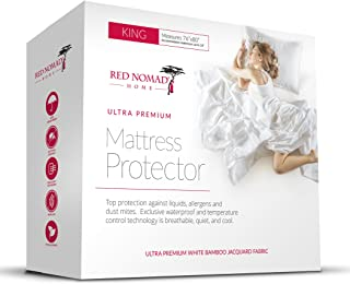 Bamboo Hypoallergenic Mattress Protector by Red Nomad - Breathable Cool Cycle Technology for Maximum Circulation & Comfort - King Size