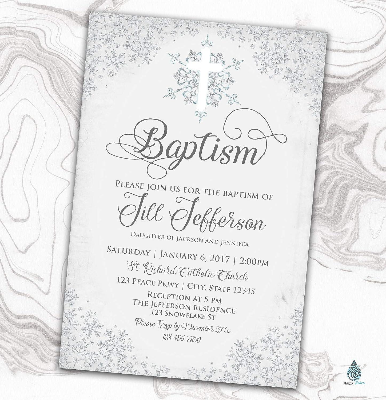 Snowflake Ultra-Cheap Deals Baptism Fashion Invitation - Naming Winter Day Ch