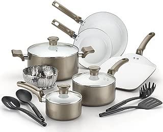 T-fal, Celebrate Ceramic, C991SE, PTFE-free, PFOA-free, Dishwasher Safe Cookware, 14 Pc. Set, Champagne