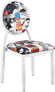 [en.casa] 2 x Sedia imbottita design Patchwork (multicolore/bianco) Retro