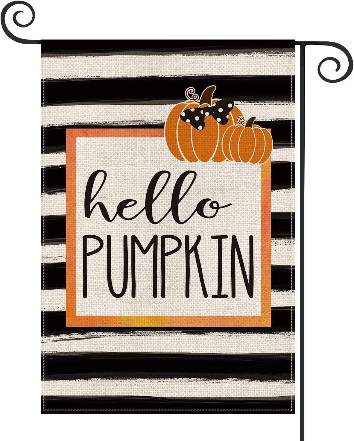 AVOIN Fall Pumpkin Garden Al sold out. Flag Watercolor Max 89% OFF Double Vertical Stripe