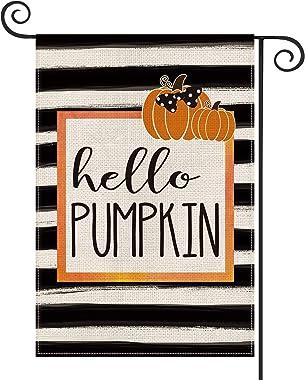 AVOIN Fall Pumpkin Garden Flag Watercolor Stripe Vertical Double Sized, Autumn Polka Dot Bow Thanksgiving Yard Outdoor Decora