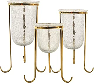 Shalimar Showroom HD 5005-VC Brass Crackled Glass Holder Set of 3 Candle Stand, Coffee Mantle Decor Centerpieces for Fireplace, Living or Dining Room Table Home, Wedding, Spa, Large,
