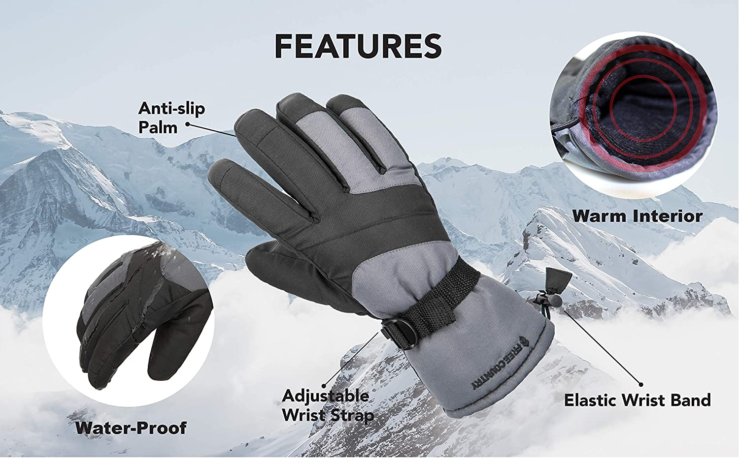 Cold Weather Thermal Glove for Men Free Country Winter Ski Gloves