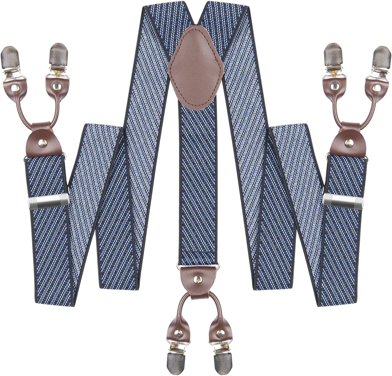 Mens Suspenders Suit Brace Y-back Leather Heavy Duty Suspender with 6 Metal Clip