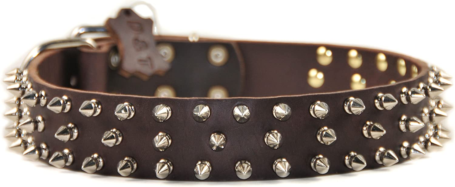 Dean and Tyler  TRIPLE THREAT , Leather Dog Collar with Nickel Plated Spikes  Brown  Size 18Inch by 11 2Inch  Fits Neck 16Inch to 20Inch