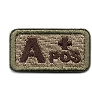 Tactical Blood Type A+ Positive POS Hook and Loop Patch Embroidered Morale Military Badge for Outdoors (Coyote Brown A+)