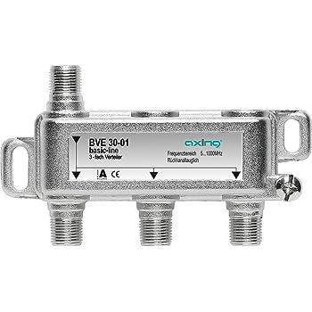 Axing BVE 30-01 Splitter 3 Vie, 5-1006 MHz partitore antenna con connettore F, per digitale terrestre e tv via cavo