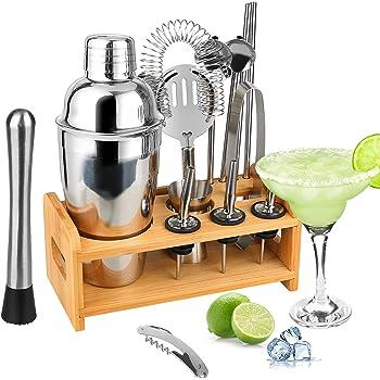 Tuevob Cocktailshaker 13 Teiliges Cocktail Bar Set Edelstahl mit Bambus Ständer,Bartending Kit Barkeeper Werkzeuge Boston Barware Barsieb-Set Perfektes Zuhause Küche Geschenk